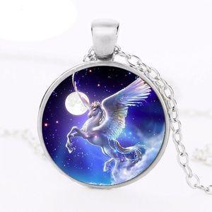 Pegasus Glass Dome Pendant Necklace